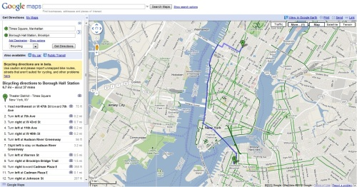 Google Maps Biking Directions