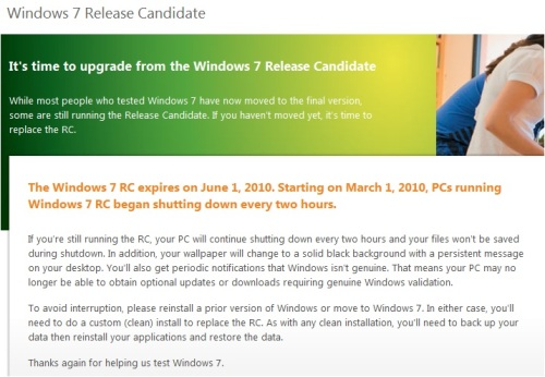 Windows 7 RC shutdown date