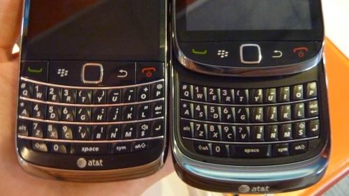 BlackBerry Torch 9800 alongside Bold 9700 keyboard