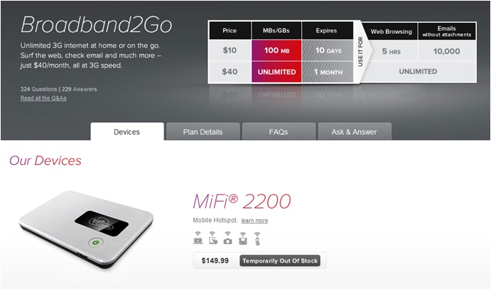 BroadBand2Go pay-as-you-go mobile 3G - virginmobileusacom